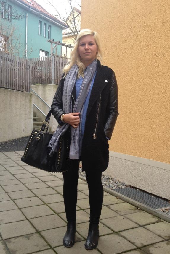 Outfit Zara Wollmantel mit Lederärmel