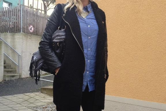 Wollmantel Zara mit Lederärmel
