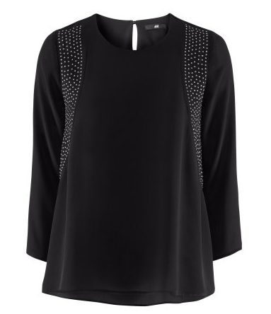 H&M Bluse schwarz mit Applikationen