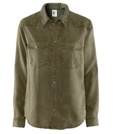 Bluse Nieten khaki H&M