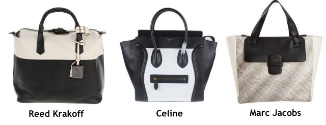 Color Block Luggage Bag Celine, REED KRAKOFF, Marc Jabos Leather white and black