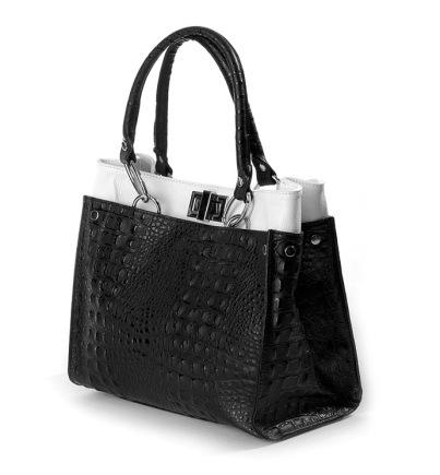 italienische Leder XL Handtasche Shopper Kroko schwarz weiß
