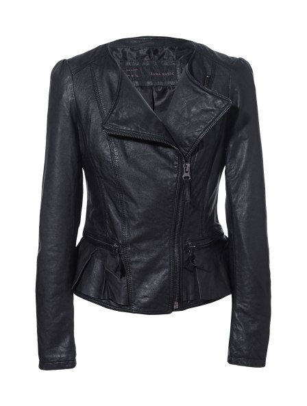 Zara Leather Jacket Volants