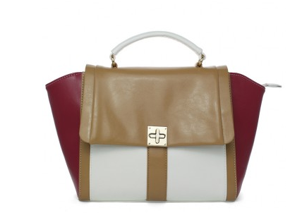 Color Blocks Wing Tote Bag in White Red