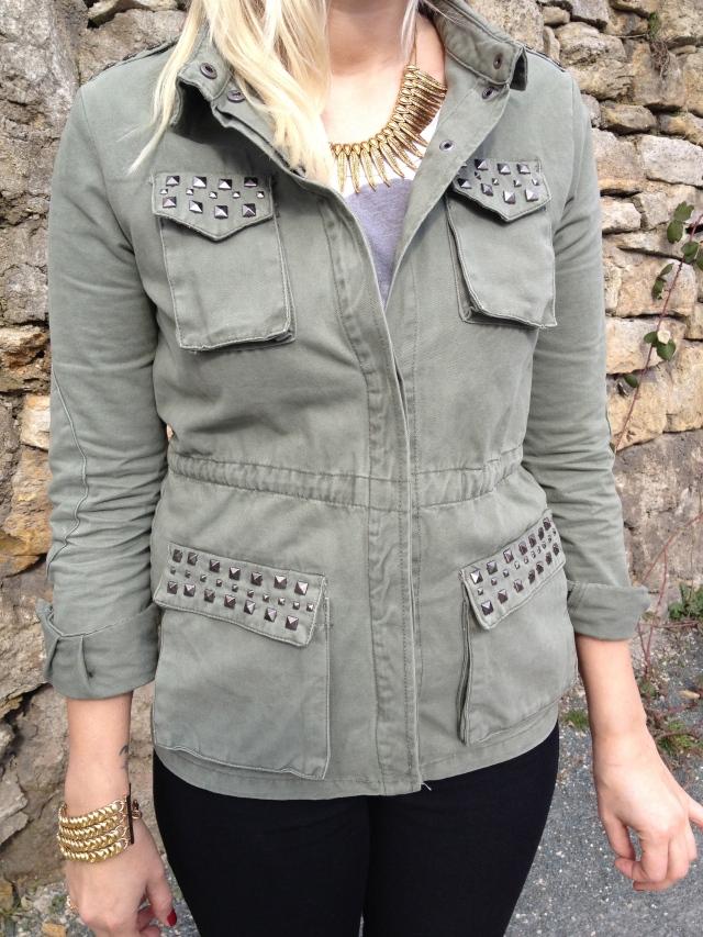 vero moda studded khaki jacket