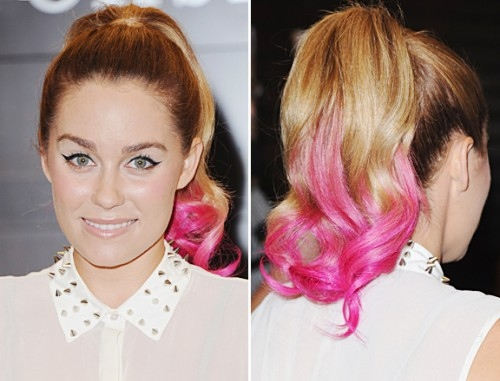 lauren Conrad dip dye pastel hair rosa