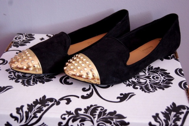 loafers bershka toe cap gold