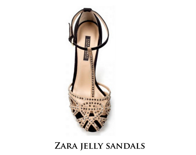 zara jelly sandals rhinestones