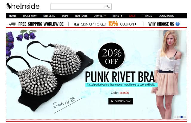 Sheinside Homepage Onlineshop
